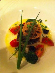 的鯛のポワレ オリーブオイルと白ワインソース