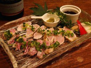 宮崎産 赤鶏のたたきの食べ比べ